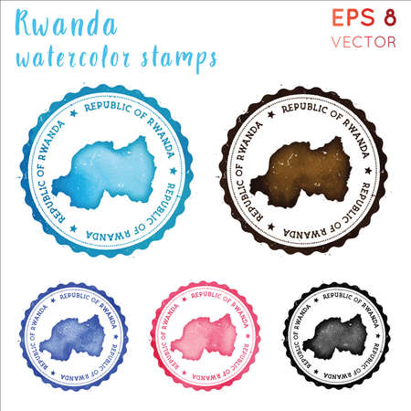 Rwanda stamp. Watercolor country stamp with map. Vector illustration.