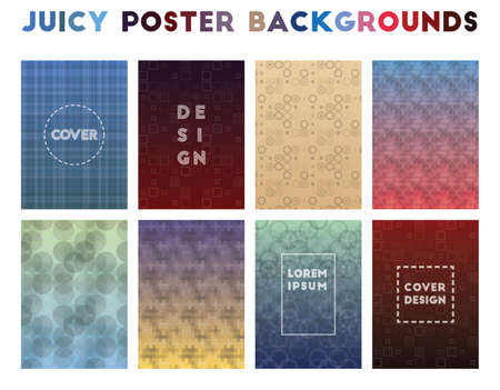 Juicy Poster Backgrounds. Alluring geometric patterns. Outstanding background. Vector illustration.