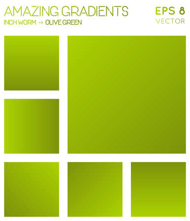 Colorful gradients in inch worm, olive green color tones. Actual gradient background, shapely vector illustration.