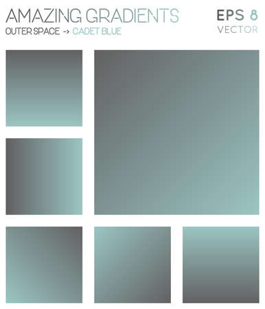 Colorful gradients in outer space, cadet blue color tones. Actual gradient background, pleasant vector illustration.