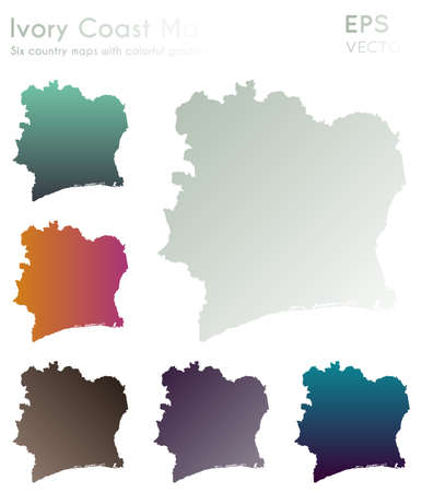 Map of Ivory Coast with beautiful gradients. Admirable set of Ivory Coast maps. Divine vector illustration.