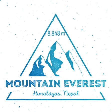 Mountain Everest outdoor adventure insignia. Climbing, trekking, hiking, mountaineering and other extreme activities template. Alluring watercolor vector illustration.