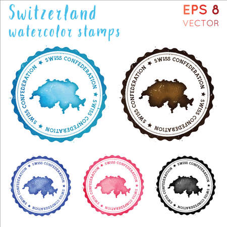 Switzerland stamp. Watercolor country stamp with map. Vector illustration.