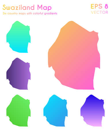 Map of Swaziland with beautiful gradients. Amazing set of Swaziland maps. Imaginative vector illustration.