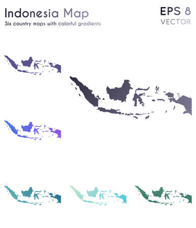 Map of Indonesia with beautiful gradients. Adorable set of Indonesia maps. Precious vector illustration.