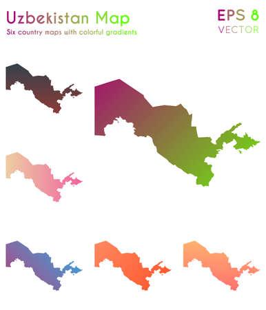 Map of Uzbekistan with beautiful gradients. Amusing set of Uzbekistan maps. Classic vector illustration.