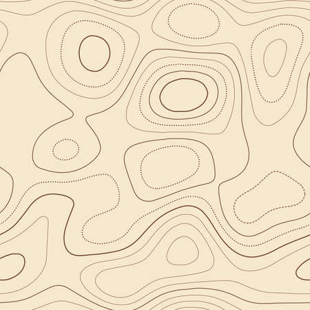 Amazing topography. Admirable topographic map. Seamless design, enchanting tileable isolines pattern. Vector illustration.