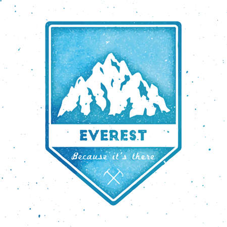 Mountain Everest outdoor adventure insignia. Climbing, trekking, hiking, mountaineering and other extreme activities  template. Grand watercolor vector illustration. 矢量图像