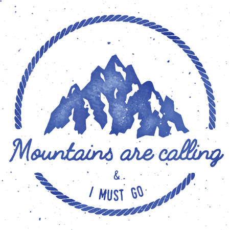 Mountain adventure and expedition insignia badge collection. Outdoor expedition. Climbing stamped t-shirt print. Delightful watercolor vector illustration. Illustration