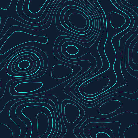 Abstract topography. Admirable topography map. Futuristic seamless design, fine tileable isolines pattern. Vector illustration. Ilustração