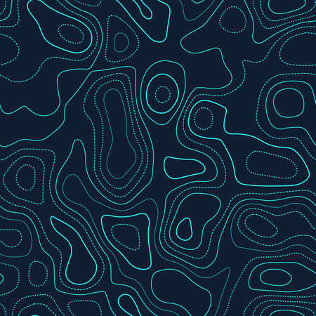 Topographic contours. Actual topography map. Futuristic seamless design, cute tileable isolines pattern. Vector illustration.