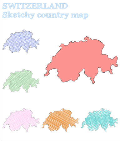 Switzerland sketchy country. Creative hand drawn country. Curious childish style Switzerland vector illustration.