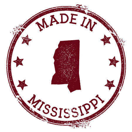 Made in Mississippi stamp. Grunge rubber stamp with Made in Mississippi text and us state map. Captivating vector illustration.