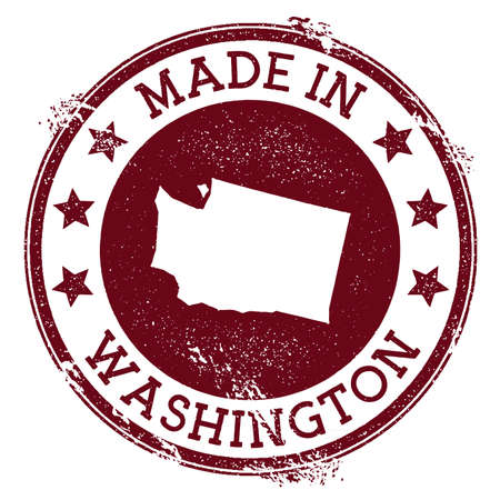 Gemaakt in Washington stempel. Grunge Rubberstempel met Made in Washington tekst en ons staatskaart. Ideale vectorillustratie. Vector Illustratie