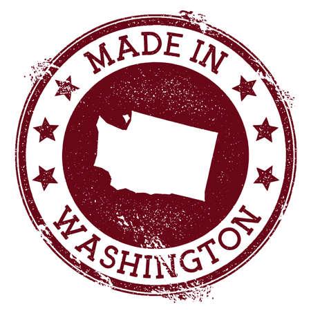 Hecho en sello de Washington. Sello de Grunge con texto hecho en Washington y mapa del estado de EE. UU. Ilustración de vector ideal. Ilustración de vector