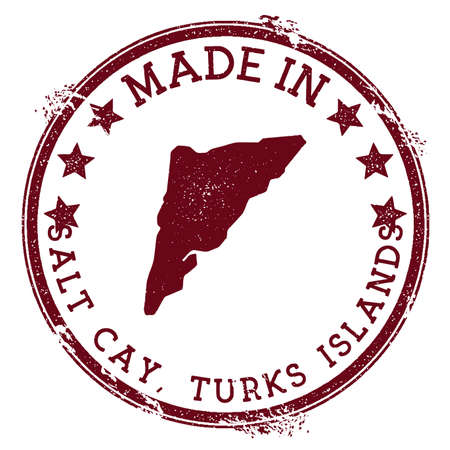 Made in Salt Cay, Turks Islands stamp. Grunge rubber stamp with Made in Salt Cay, Turks Islands text and island map. Dazzling vector illustration.