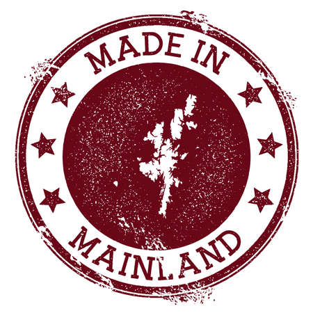 Made in Mainland stamp. Grunge rubber stamp with Made in Mainland text and island map. Ideal vector illustration.
