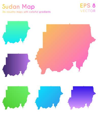 Map of Sudan with beautiful gradients. Alluring set of Sudan maps. Vibrant vector illustration.