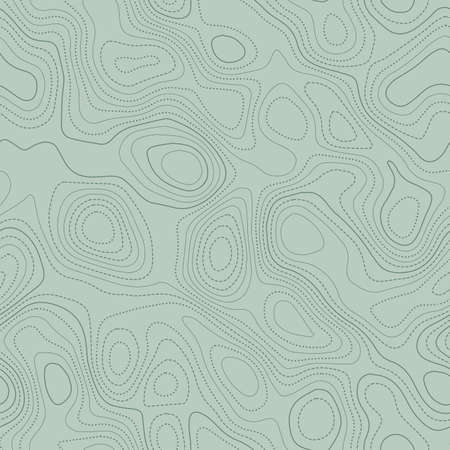 Topographic map background. Actual topographic map in green tones, seamless design, flawless tileable pattern. Vector illustration.