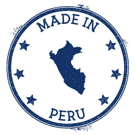 Made in Peru stamp. Grunge rubber stamp with Made in Peru text and country map. Worthy vector illustration.