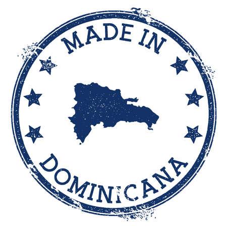 Hergestellt in Dominicana-Stempel. Grunge-Stempel mit Made in Dominicana-Text und Landkarte. Perfekte Vektorillustration. Vektorgrafik