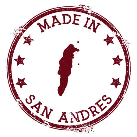 Made in San Andres stamp. Grunge rubber stamp with Made in San Andres text and island map. Ecstatic vector illustration.