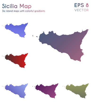 Map of Sicilia with beautiful gradients. Authentic set of Sicilia maps. Valuable vector illustration.