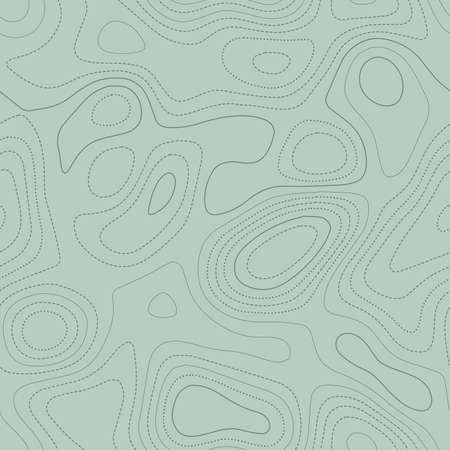 Terrain topography. Actual topographic map in green tones, seamless design, sublime tileable pattern. Vector illustration.