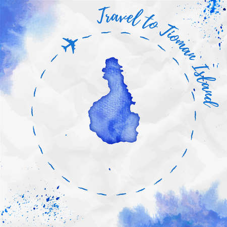 Tioman Island watercolor island map in blue colors. Travel to Tioman Island poster with airplane trace and handpainted watercolor Tioman Island map on crumpled paper. Vector illustration. Ilustração
