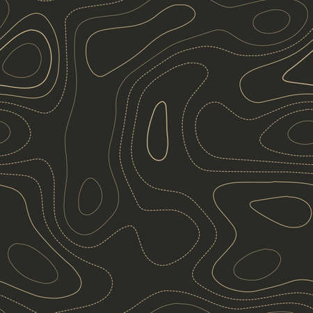 Contour lines. Admirable topography map. Seamless design. Cute tileable isolines pattern, vector illustration.