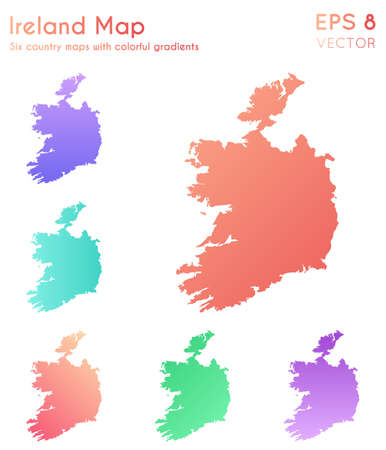 Map of Ireland with beautiful gradients. Adorable set of Ireland maps. Sightly vector illustration. Illustration