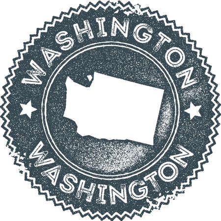 Washington map vintage stamp. Retro style handmade label, badge or element for travel souvenirs. Dark blue rubber stamp with us state map silhouette. Vector illustration.  イラスト・ベクター素材