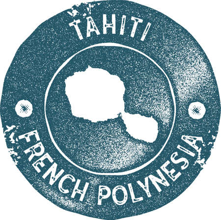 Tahiti map vintage stamp. Retro style handmade label, badge or element for travel souvenirs. Blue rubber stamp with island map silhouette. Vector illustration.