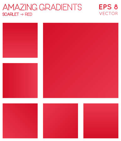 Colorful gradients in scarlet, red color tones. Actual gradient background, delightful vector illustration.