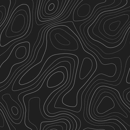 Topographic map lines. Actual topography map. Dark seamless design, remarkable tileable isolines pattern. Vector illustration.