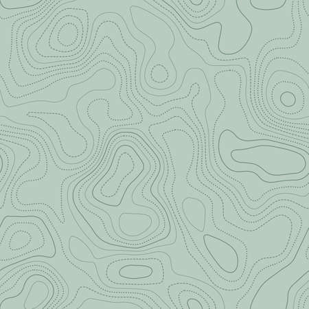 Topographic map. Actual topographic map in green tones, seamless design, fancy tileable pattern. Vector illustration. Ilustração