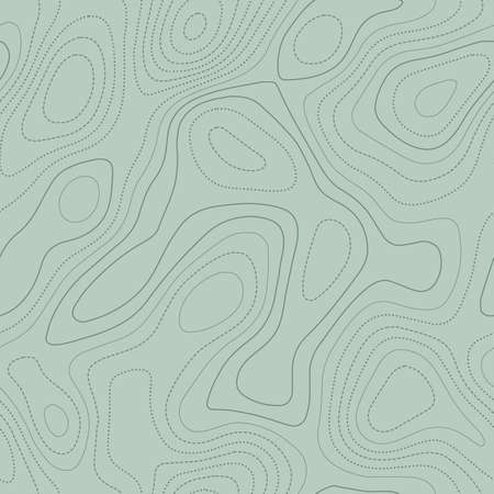 Topographic map lines. Actual topographic map in green tones, seamless design, remarkable tileable pattern. Vector illustration.