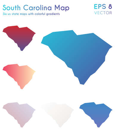 Map of South Carolina with beautiful gradients. Beautiful set of South Carolina maps. Bewitching vector illustration. Иллюстрация