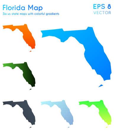 Map of Florida with beautiful gradients. Beauteous set of Florida maps. Adorable vector illustration. Foto de archivo - 120271456