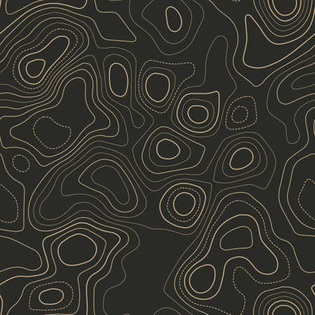 Terrain topography. Actual topography map. Seamless design. Extra tileable isolines pattern, vector illustration. Ilustração