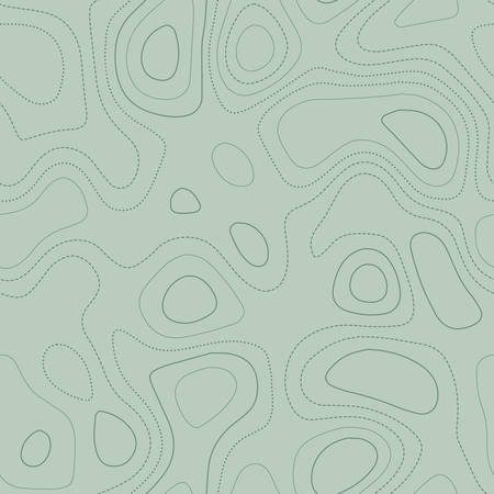 Amazing topography. Actual topographic map in green tones, seamless design, pleasing tileable pattern. Vector illustration.
