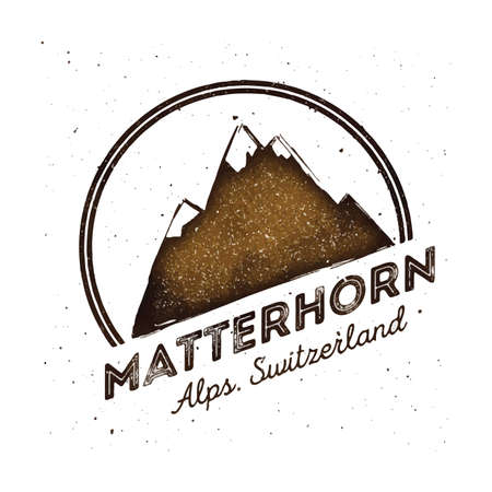Mountain Mattehorn outdoor adventure insignia. Climbing, trekking, hiking, mountaineering and other extreme activities logo template. Dazzling watercolor vector illustration.