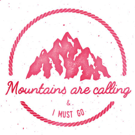 Mountain adventure and expedition insignia badge collection. Outdoor expedition logo. Climbing stamped t-shirt print. Divine watercolor vector illustration.