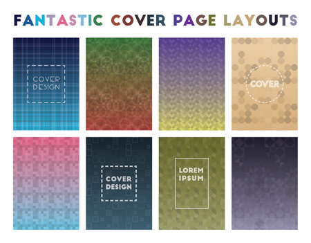 Fantastic Cover Page Layouts. Amazing geometric patterns. Authentic background. Vector illustration.