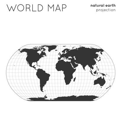 World map. Globe in natural earth projection, with graticule lines style. Modern vector illustration.