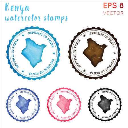 Kenya stamp. Watercolor country stamp with map. Vector illustration.