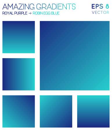 Kolorowe gradienty w królewskiej purpurze, odcieniach niebieskiego jajka robin. Rzeczywiste tło gradientowe, dodatkowa ilustracja wektorowa.