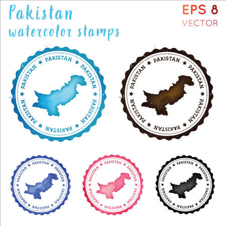 Pakistan stamp. Watercolor country stamp with map. Vector illustration.