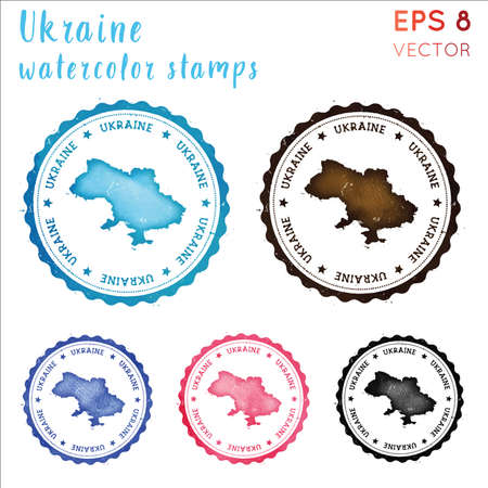 Ukraine stamp. Watercolor country stamp with map. Vector illustration. Illustration
