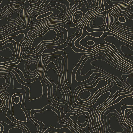 Terrain topography. Actual topography map. Seamless design. Fetching tileable isolines pattern, vector illustration.
